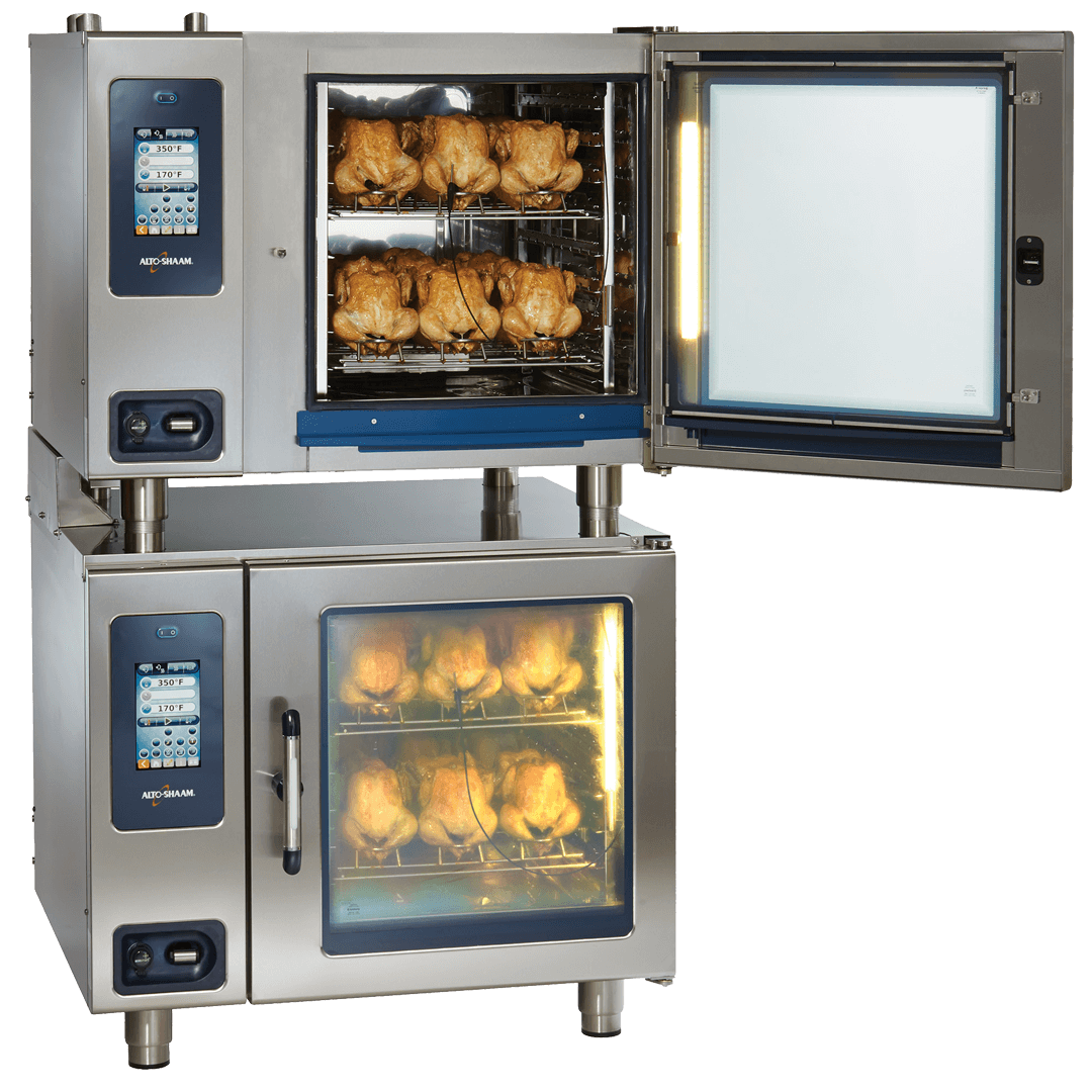 Alto-Shaam CTP7-20 Combitherm Combi Oven stacked with rotisserie chickens