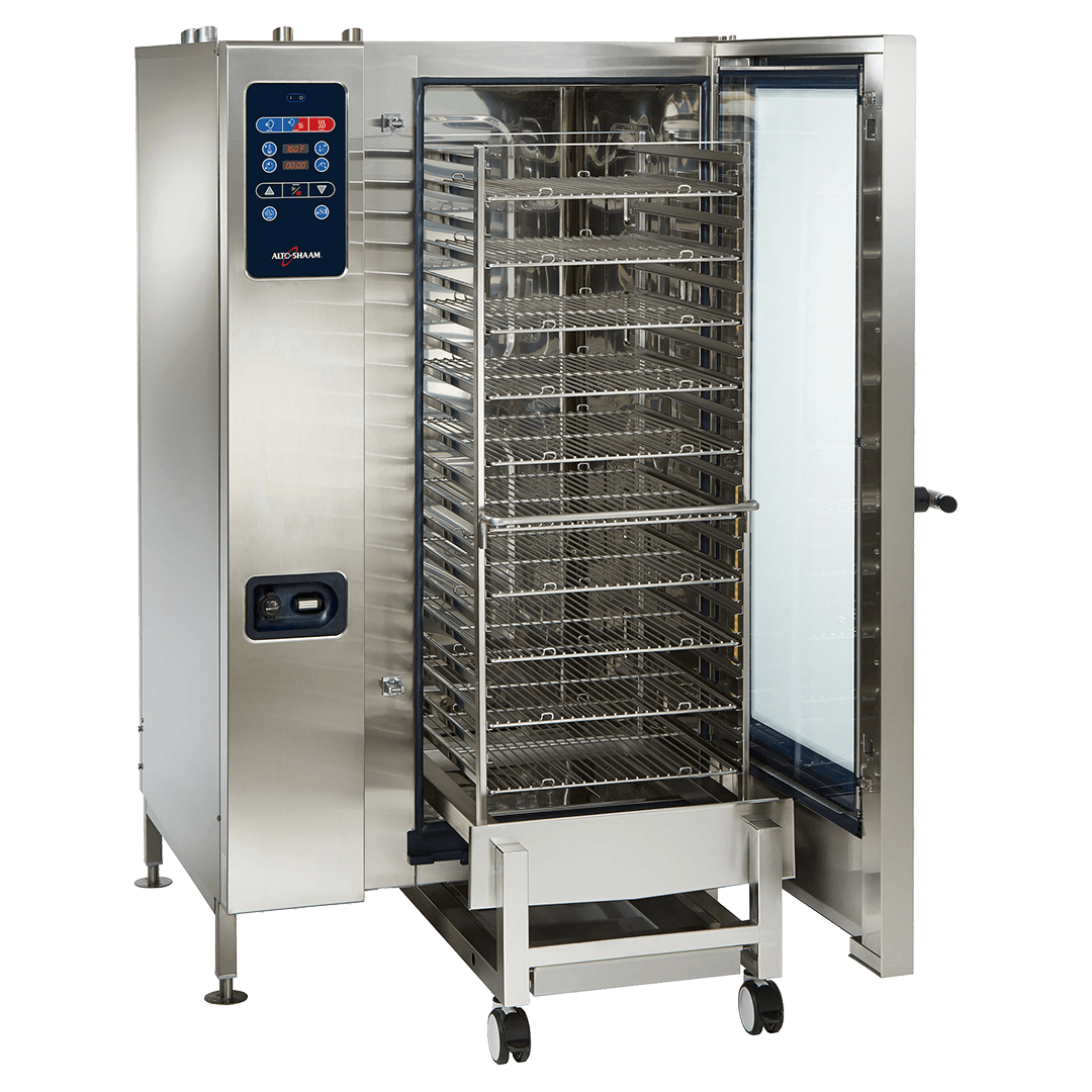 CTC20-20 Combitherm Combi Oven with door open and rack pulled out