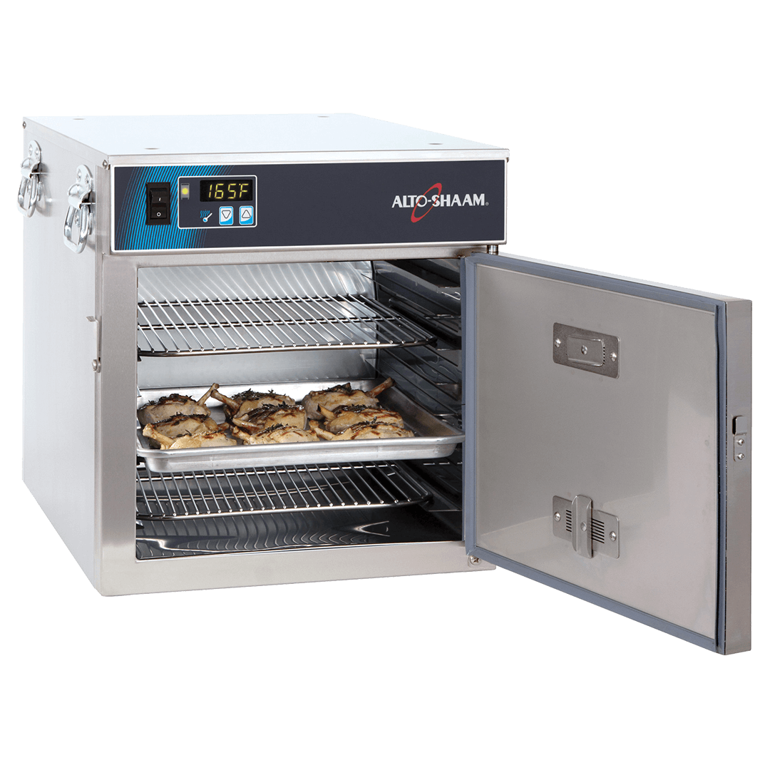 300-S Halo Heat Low Temp Holding Cabinet with door open holding food